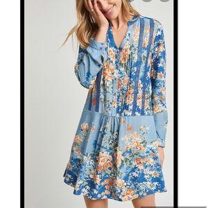Anthro Tiny Blue Floral Gaina Printed Dress Sz S
